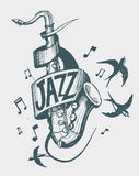 Jazz emblem. With a saxophone and swallows. Vector illusrtation Stock Images