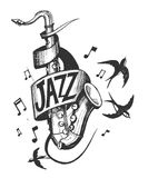 Jazz emblem. With a saxophone and swallows. Vector illusrtation Royalty Free Stock Photography