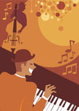 Jazz evening. Retro style musicians playing jazz Stock Image