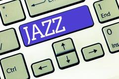 Jazz för textteckenvisning Kraftfull rytm för begreppsmässigt foto genom att använda mässings- och träblåsinstrumentinstrument fö fotografering för bildbyråer