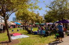 Jazz Fest March 2018  south side. Jazz fest on river walk in Ft. Lauderdale March of 2018. The crowd gathers to listen to live jazz music with local vendors and Royalty Free Stock Image