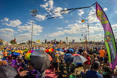 Jazz Fest In New Orleans. A colorful sea of music fans at Jazz Fest in New Orleans, Louisiana Royalty Free Stock Photo