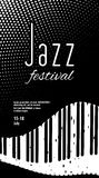 Jazz festival. Black and white monochrome abstract background with piano keys. Royalty Free Stock Image