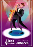 Jazz Festival Cartoon Poster Photos stock
