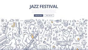 Jazz Festival Doodle Concept. Doodle  illustration of musicians on jazz music festival. Concept of playing jazz for web banners, hero images, printed materials Royalty Free Stock Images
