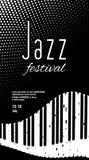 Jazz Festival Einfarbiger abstrakter Schwarzweiss-Hintergrund mit Klavierschlüsseln Lizenzfreies Stockbild