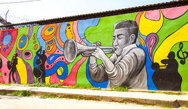 Jazz Festival. Illustration at Mompox, Colombia.  is in October, each year Stock Photos
