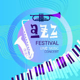 Jazz Festival Live Music Concert Poster Advertisement Banner. Vector Illustration Stock Photography