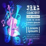 Jazz Festival Live Music Concert Poster Advertisement Banner. Vector Illustration Stock Images