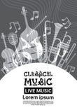 Jazz Festival Live Music Concert-Retro Banner van de Affichereclame Stock Afbeelding