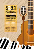 Jazz Festival Live Music Concert-Retro Banner van de Affichereclame vector illustratie