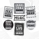 Jazz Festival Live Music Concert-Retro Geplaatste Banners van de Affichereclame Stock Fotografie
