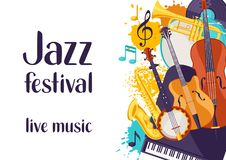 Jazz festival live music retro poster with musical instruments.  Royalty Free Stock Photography
