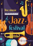 Jazz festival live music retro poster with musical instruments.  Royalty Free Stock Image