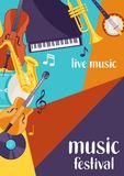 Jazz festival live music retro poster with musical instruments.  Stock Image