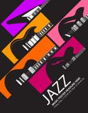 Jazz festival music background with a generic guitars. With space for type for print or web use royalty free illustration
