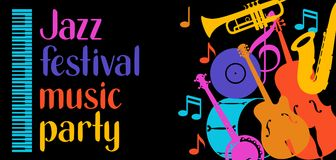Jazz festival music party banner with musical instruments.  Royalty Free Stock Photo