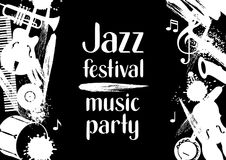 Jazz festival music party grunge poster with musical instruments.  Royalty Free Stock Image