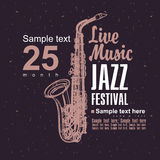 Jazz festival. Music poster with a picture of a saxophone jazz festival Stock Photos