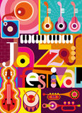 Jazz Festival. Musical abstract collage - vector illustration with musical instruments and inscription Jazz Festival. Design with fonts Royalty Free Stock Photos