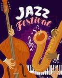 Jazz Festival Muzikaal festival, levend muziekconcept Vector illustratie stock illustratie