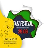 Jazz festival poster on 3D abstract background. paper cut shapes. Vector design layout for business presentations. Flyers, posters and invitations. Colorful Stock Images