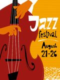 Jazz festival poster with double bass musician Royalty Free Stock Photo