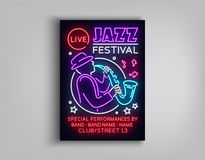 Jazz Festival Poster Neon. Neon sign, Neon style brochure, Design invitation template for Jazz music festival, Light. Banner, Nightly advertisement of the Royalty Free Stock Photos
