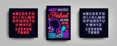 Jazz Festival Poster Neon. Neon sign, Neon style brochure, Design invitation template, Light Banner, Nightly. Advertisement festival, party, concert. Vector Royalty Free Stock Images