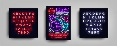 Jazz Festival Poster Neon. Neon sign, Neon style brochure, Design invitation template, Light Banner, Nightly. Advertisement festival, party, concert. Vector Stock Photo