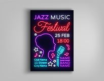 Jazz Festival Poster Neon. Neon sign, Neon style brochure, Design invitation template for Jazz music festival, Light. Banner, Nightly advertisement of the Royalty Free Stock Images