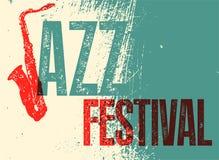 Jazz Festival Poster Retro typografische grunge vectorillustratie Stock Afbeelding