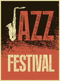 Jazz Festival Poster Retro typografische grunge vectorillustratie Royalty-vrije Stock Foto's