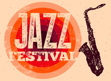 Jazz Festival poster. Retro typographical grunge vector illustration. Stock Images
