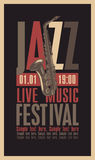 Jazz festival. Poster for the jazz festival with a saxophone Stock Images