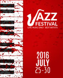 Jazz festival poster with a saxophone. Musical flyer design template Royalty Free Stock Photos