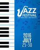 Jazz festival poster with a saxophone. Musical flyer design template Stock Photography