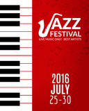Jazz festival poster with a saxophone. Musical flyer design template Royalty Free Stock Photography
