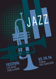 Jazz Festival Poster Template. Jazz Festival Poster Design Template Royalty Free Stock Photography