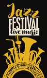 Jazz festival poster with wind instruments and mic. Vector poster for a jazz festival live music with yellow silhouettes of saxophone, wind instruments Royalty Free Stock Photo
