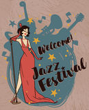 Jazz festival poster. Woman in retro style singing jazz music, jazz festival poster, vector illustration Stock Photo