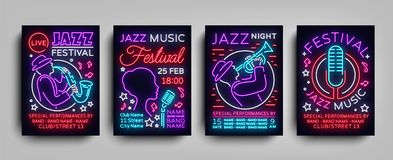 Jazz Festival posters Neon Collection. Neon sign, Neon style brochure, Design invitation template for Jazz music. Festival, Light Banner, Nightly advertisement Stock Image