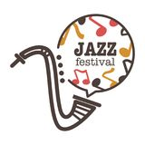 Jazz festival promotional banner with saxophone and notes. Jazz festival promotional banner with saxophone outline and cloud full of notes with thick sign Royalty Free Stock Photography