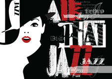 Jazz festival. Retro a poster with the stylish girl. Stock Image