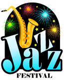 Jazz Festival Saxophone/ai. Headline Jazz Festival with cartoon saxophone and fireworks in a night sky...good start for a jazz festival poster royalty free illustration