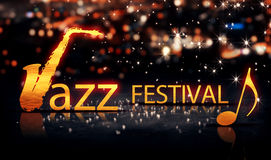 Jazz Festival Saxophone Gold City Bokeh Star Shine Yellow Background 3D. Digital art Stock Photography