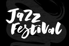 Jazz festival text lettering calligraphy black chalkboard royalty free illustration