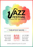 Jazz festival vector background poster. Flyer design music template. Musical festival event flyer Royalty Free Stock Photography