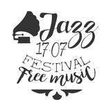 Jazz Free Live Music Festival Concert Black And White Poster With Calligraphic Text And Gramophone Royalty Free Stock Photography