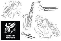 Jazz Groove Sketch, Lijnkunst en Elementen Stock Foto